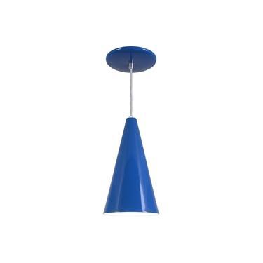 Pendente Cone Luminária Lustre Alumínio Azul Royal - Rei Da Iluminação