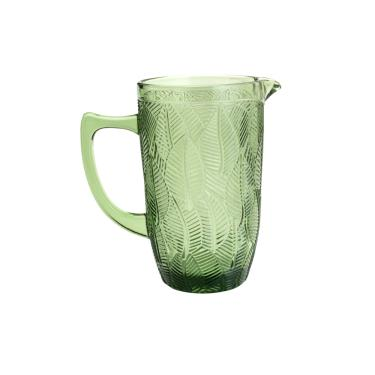 Jarra em vidro Wolff Leaves 1,3 litros verde