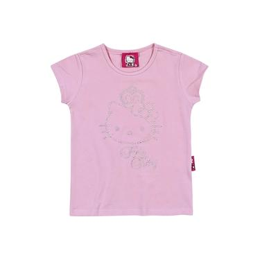 Blusa Infantil Manga Curta Hello Kitty - Em Cotton Light - Lilás Rosa