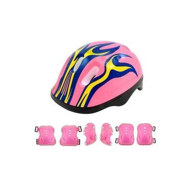 Conjunto Proteção Infantil Capacete Bike Skate 7 Peças - Rosa