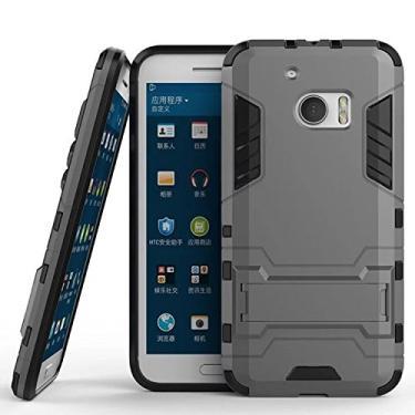 SCIMIN Capa para HTC 10, capa para HTC 10 à prova de choque, capa rígida híbrida resistente à prova de choque com suporte para HTC 10 de 5,2 polegadas (cinza)
