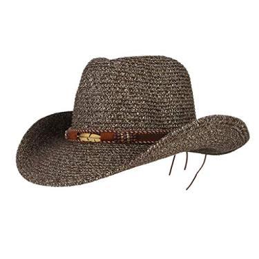 kowaku Chapéu de Palha de Cowboy Estilo Ocidental Verão Aba Larga Masculina Feminino Chá Chapéu Acetinado - Café