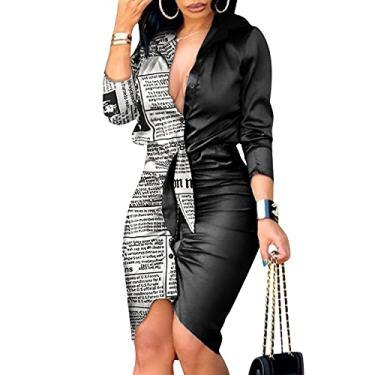 Imagem de SLENDIPLUS Vestido feminino 2021, moderno, gola V, manga comprida, franzido, colado ao corpo, mini vestidos com laço liso com botões, #007: branco, XXG