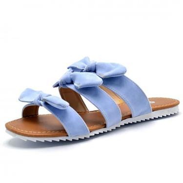 Sandalia Rasteira Flor da Pele Tiras Com Laços  Azul Bebê  feminino