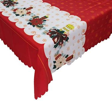 Imagem de giveyoulucky 150 x 180 cm Toalha de mesa de Natal com estampa temática de Natal retangular requintada capa de mesa de poliéster decoração de festa G