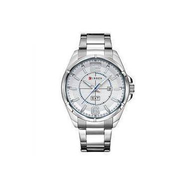 5101e12f97e Relógio Masculino Curren Analógico 8271 Branco E Prata