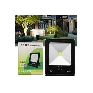 Refletor Sd Led Holofote Slim 50w Bivolt Ip66 6000k Branco Frio Resistente Água Jardim Fachada Casa