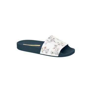 Chinelo Slide Moleca Verniz Floral Branco/Marinho 5414 100