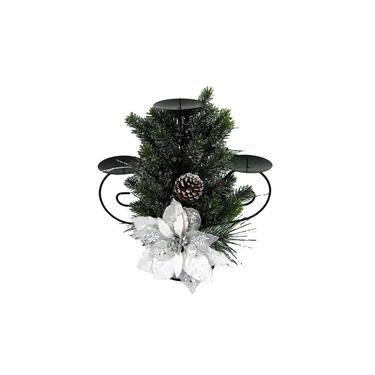 Candelabro para 3 Velas e Arranjo Class White Santini Christmas 36.5x38.5cm