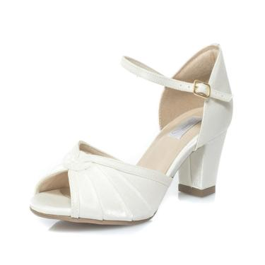 Sandália Durval Calçados Noiva Cetim Velvet Salto Confortável - Mv3603 Off White 073201250208 feminino
