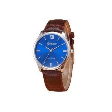 a6382ee3f81 Relógio Masculino Geneva Social Couro Platlnum