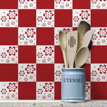 c9d168b1d Adesivo de Azulejo Floral Vermelho 10x10 - Para Cozinha