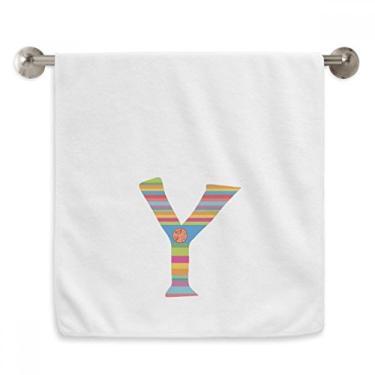 Imagem de DIYthinker Toalha de mão Y alfabeto laranja com estampa fofa toalha de mão de algodão macio toalha de rosto