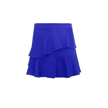 Saia Feminina com Babado Azul Seiki 540074