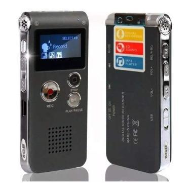 Gravador De Voz Digital Recarregável 8gb Espião Aula Áudio