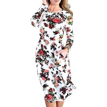 Vestido feminino Hajotrawa camiseta de manga comprida casual estampa floral com bolsos, Marfim, XL
