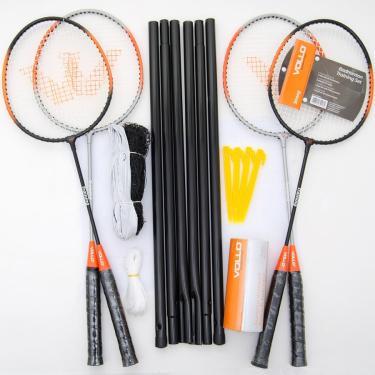 Kit Vollo Badminton 4 Raquete  3 Petecas  Rede e Suportes