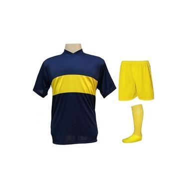 Uniforme Esportivo com 14 camisas modelo Boca Juniors Marinho/Amarelo + 14 calções modelo Madrid Amarelo + 14 pares de meiões Amarelo