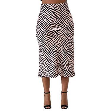Saias midi de leopardo para mulheres verão – Saia midi longa com elástico e cintura alta, Zebra Stripe, Small