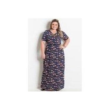 Vestido Decote em V Floral Marguerite Plus Size