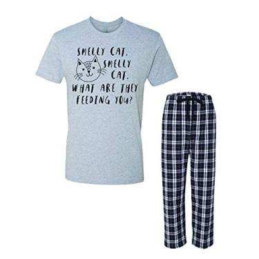 Pijama Smelly Cat Face Friends Adulto e Juvenil, Conjunto de pijama cinza, M
