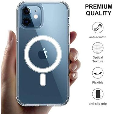 Clear Magnetic Case for iPhone 12 Pro with Mag-Safe Charging, Slim Fit Hard Back Soft Silicone TPU Bumper Cover, Thin Cute Shockproof Anti-Yellow Protective Case for i-Phone 12 Pro (6.1 inch)