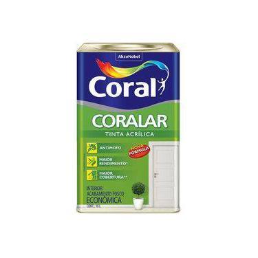 Tinta Coral Acrílica Coralar, Fosco, Branco Gelo, Balde 18 Litros