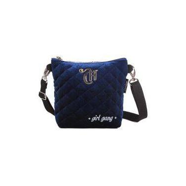 Bolsa Tranversal/ Pochete 2x1 Capricho Veludo Azul