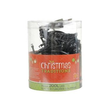 Pisca-pisca Cordão Leds Colorido com 8 Funções 200 Lâmpadas 127V - Christmas Traditions