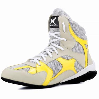 Bota Treino Musculação Unissex em Couro Amarelo e Creme  unissex