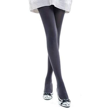 Imagem de Meia-calça feminina elástica térmica grossa e quente forrada para o inverno (cinza)