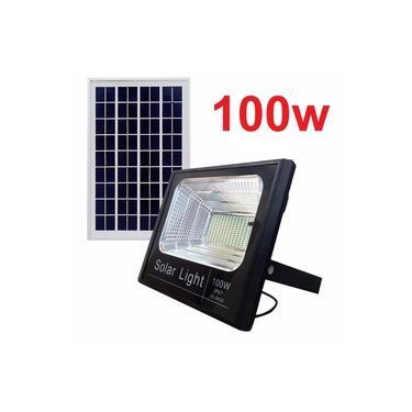 Refletor Holofote Smd Solar Led 100w Controle +placa solar