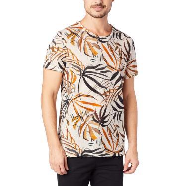 Colcci Camiseta Slim Full Print: Folhas, P, Bege/Verde/Preto/Marrom/Amarelo/Laranja/Cinza