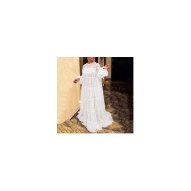 Imagem de Vonda 2021 feminino manga puff transparente em renda plissada maxi vestido elegante vestido de festa vestido de festa plus size Branco M