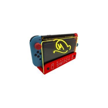 Suporte Bancada/Parede Nintendo Switch Iluminado - Mario Odyssey - Base Vermelho LED Amarelo