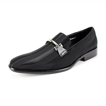 Sapato social masculino Expressions 6757 de cetim listrado e sem cadarço da RC Roberto Chillini, Preto, 7.5