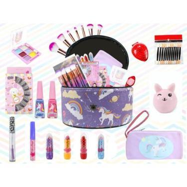 Imagem de Maleta Kit De Maquiagem Completo Infantil Pinceis Sereia - Bazar Na We