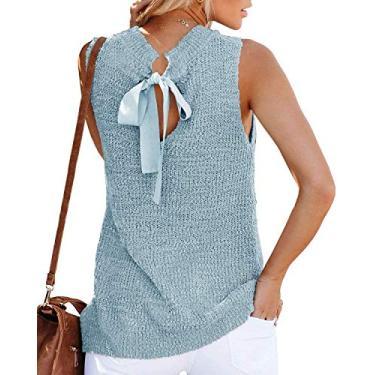 Túnica feminina de verão, sem mangas, blusa, blusa, regata, fecho nas costas, casual, de crochê, Azul, M