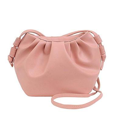 Imagem de CNmuca Saco de bolinho de ombro cor doce mensageiro de cor sólida bolsa de ombro moeda bolsa feminina pequena bolsa de mão rosa