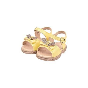 Imagem de Sandália Ortopédica Papete Infantil Menina Laço Metalizado Amarelo
