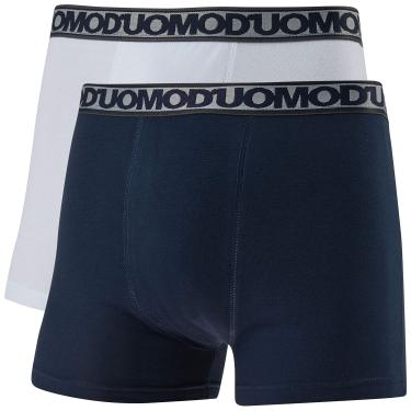 Kit de 2 Cuecas Boxer Básico, Duomo, Masculino, Branco/Marinho, GG