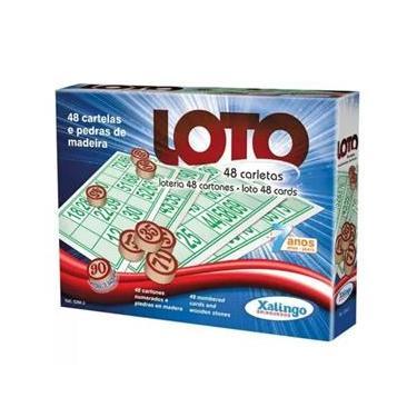 Imagem de Jogo Bingo Loto 48 Cartelas c/ Pedra Madeira - Xalingo