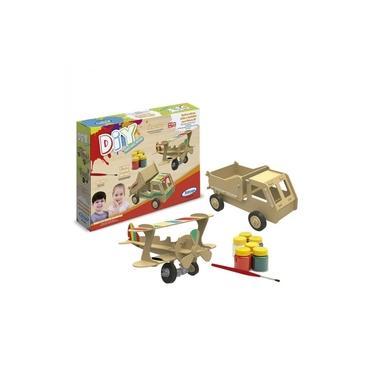 Imagem de Quebra Cabeça Puzzle 28 Peças - Avião e Caminhão Para Pintura 3D - Xalingo 50465