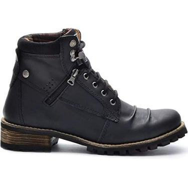 Coturno Casual Masculino Preto Boots 775 Em Couro Legitimo Salto Madeira Cor:Preto;Tamanho:40