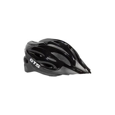 Capacete Com Sinalizador Led Ciclismo Bike Gts - Preto/Cinza
