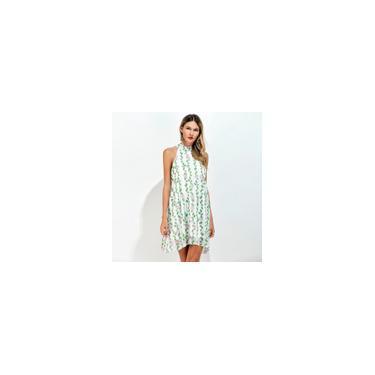 Deixa as mulheres vestido de chiffon Choker Impressão floral alta Neck mangas soltas fresco A-linha Mini vestido Green Light