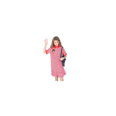 RainmallMulheres Colgio Vento T-Shirt Vestido Turn Down Collar Stripe Pattern vestido longo