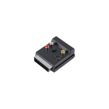 Switchable Scart macho para Scart Feminino S-Video 3 rca Áudio Conversor Adaptador-F
