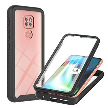 XYX Capa compatível com Motorola G9 Play, [película integrada] Capa protetora híbrida 2 em 1 à prova de choque para Moto G9 Play, borboleta rosa