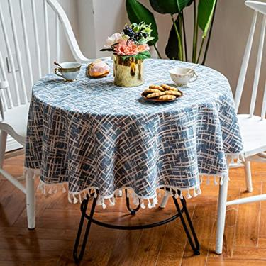 Imagem de jia cool Toalha de mesa redonda, capa de mesa listrada de sarja nórdica lavável decoração de jantar para Natal (220 cm azul celeste)